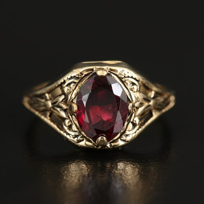 Garnet Ring with Foliate Openwork Design