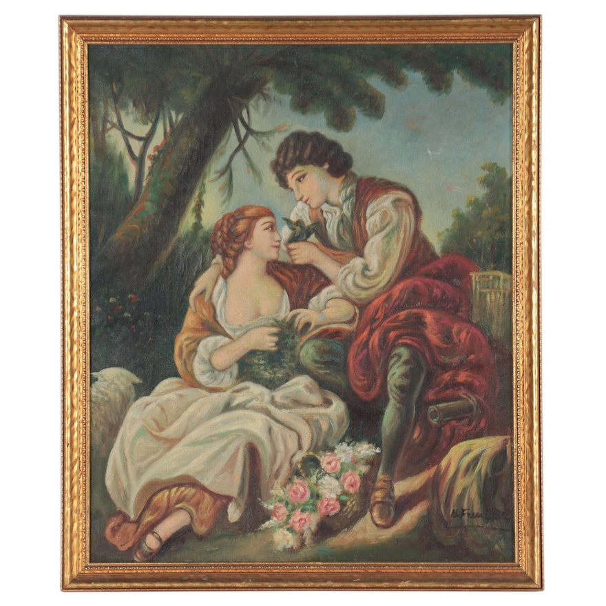 """Oil Painting After François Boucher """"The Cage,"""" Late 20th Century"""