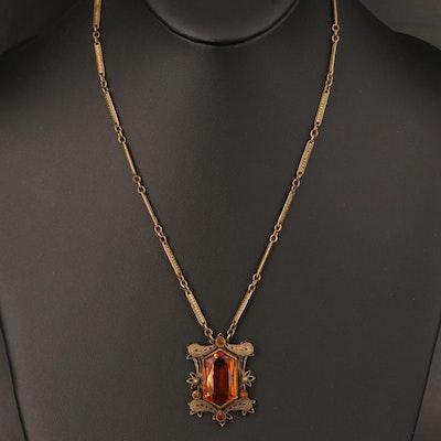 1930s Czechoslovakian Glass and Filigree Necklace