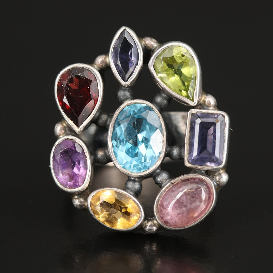 Sterling Bezel Set Cluster Ring with Topaz, Amethyst and Garnet