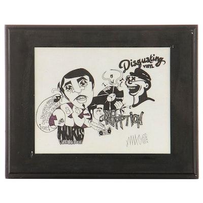 "Graffiti Style Ink Drawing ""Disgusting Vinyl"""