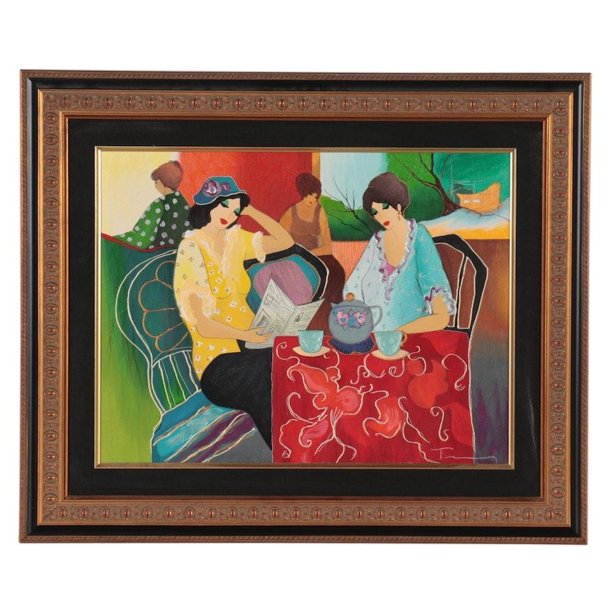 "Itzchak Tarkay Embellished Serigraph ""Colorful Day"""