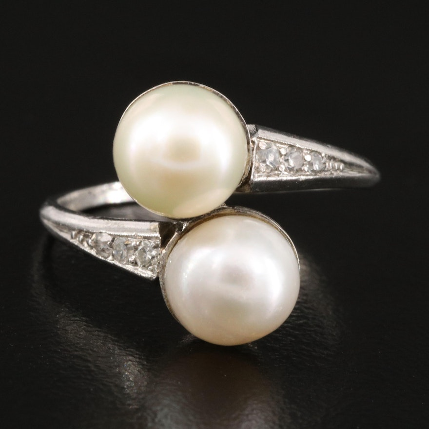 10K Pearl and Diamond Moi et Toi Ring with Platinum Shank