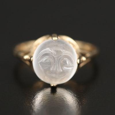 10K Moonstone Man in the Moon Ring