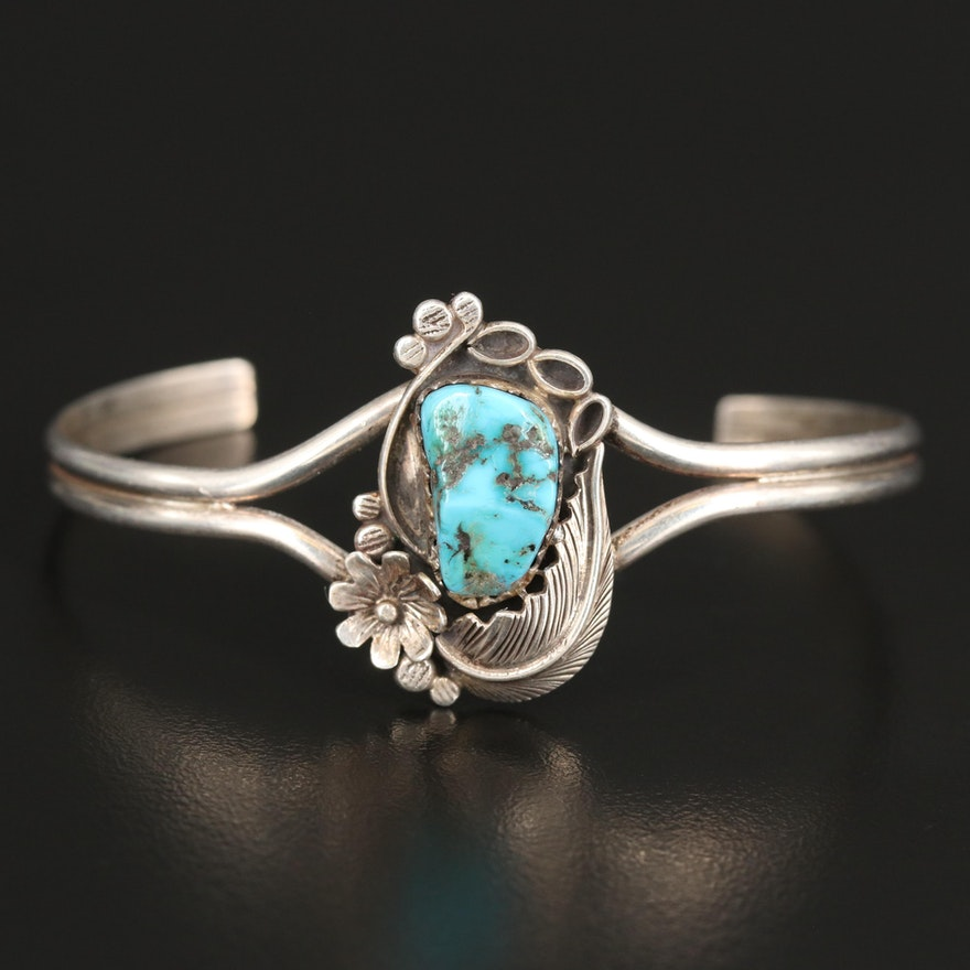 Southwestern Sterling Silver Turquoise Appliqué Cuff