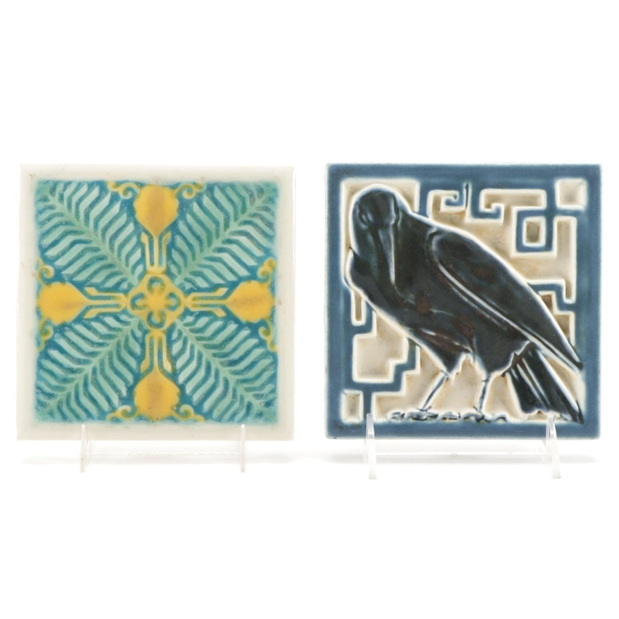 """Rookwood Pottery """"Rook"""" and """"Ferns and Flowers"""" Footed Tile Trivets, 1920s"""