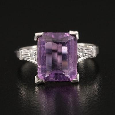 Platinum Amethyst and Diamond Ring