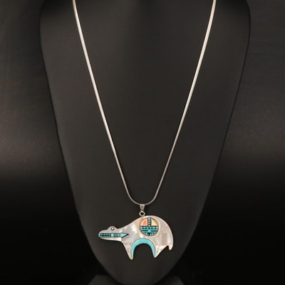 Western Style Sterling Heartline Bear Necklace Including Coral and Turquoise