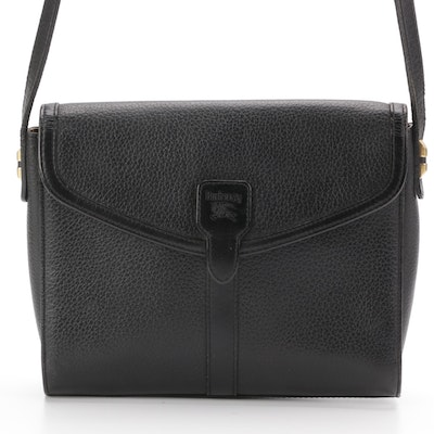 Burberry Black Grained Leather Front Flap Crossbody