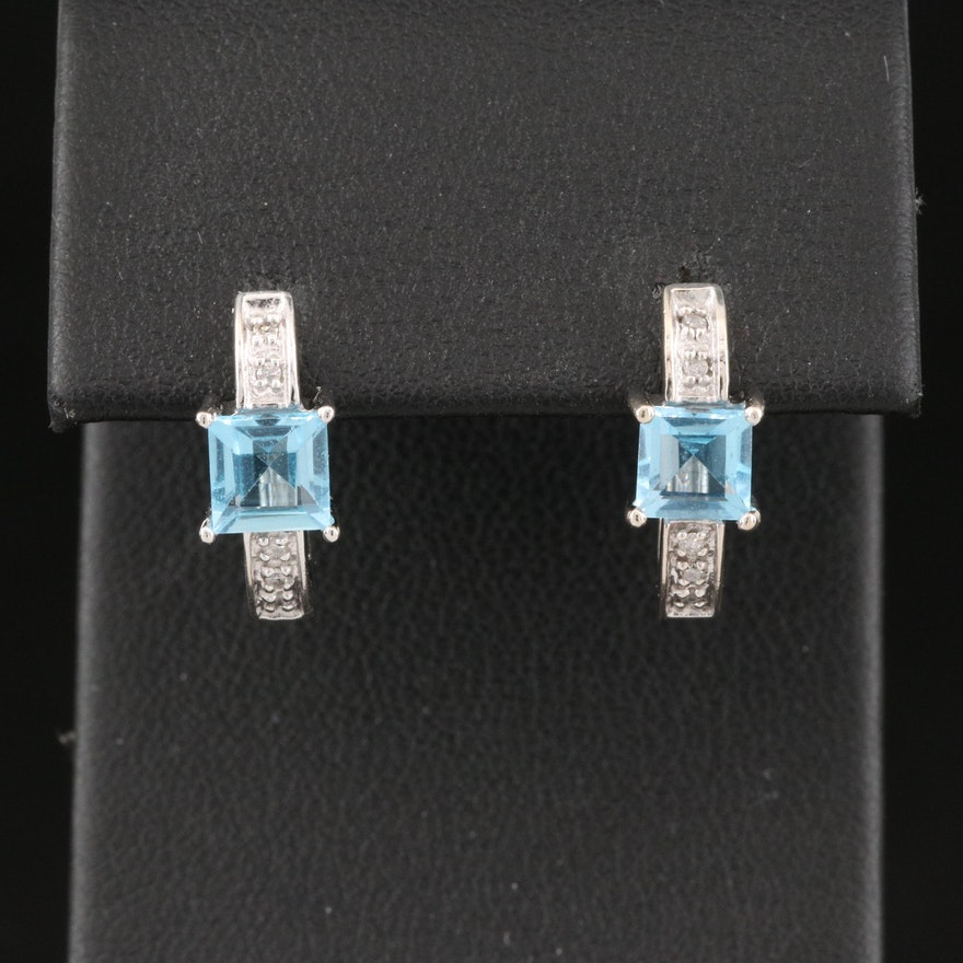 10K Sky Blue Topaz and Diamond J Hoop Earrings
