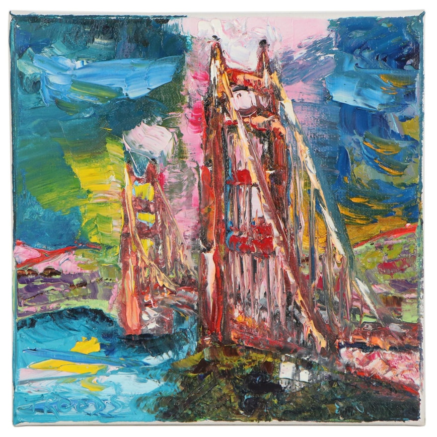 "Patricia Nolan-Brown Oil Painting ""Golden Gate Bridge"""