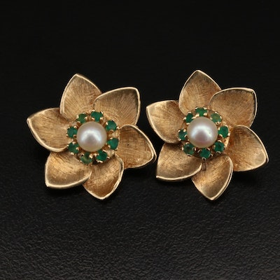 Vintage 14K Pearl and Chalcedony Floral Earrings