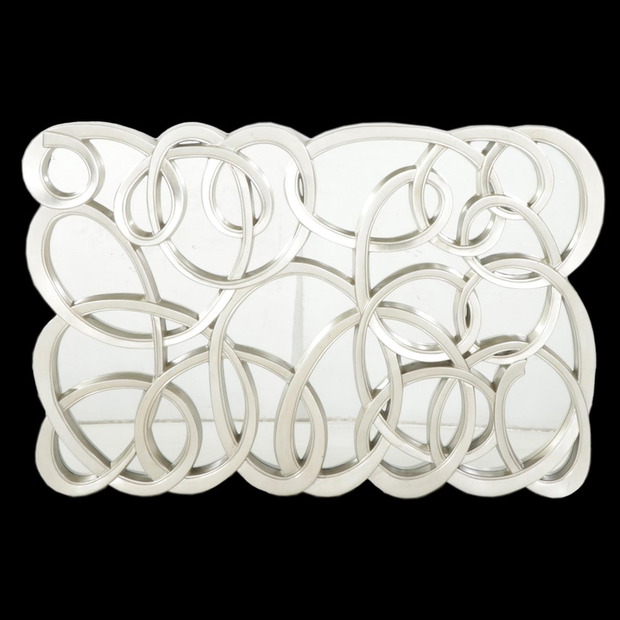 Majestic Silvered Wall Mirror with Looped Ribbon Frame, Contemporary