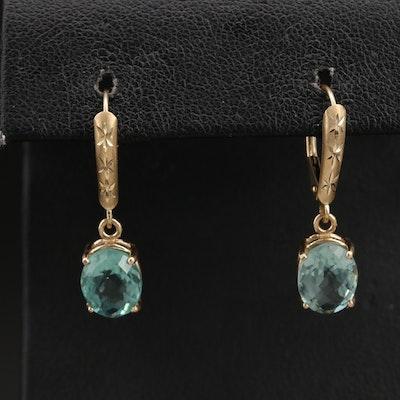 14K Quartz Drop Earrings