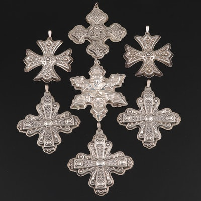 Reed & Barton Sterling Silver Yearly Snowflake Christmas Ornaments