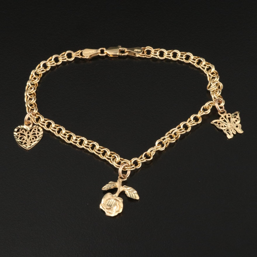 10K Double Link Charm Bracelet Featuring Rose, Heart and Butterfly