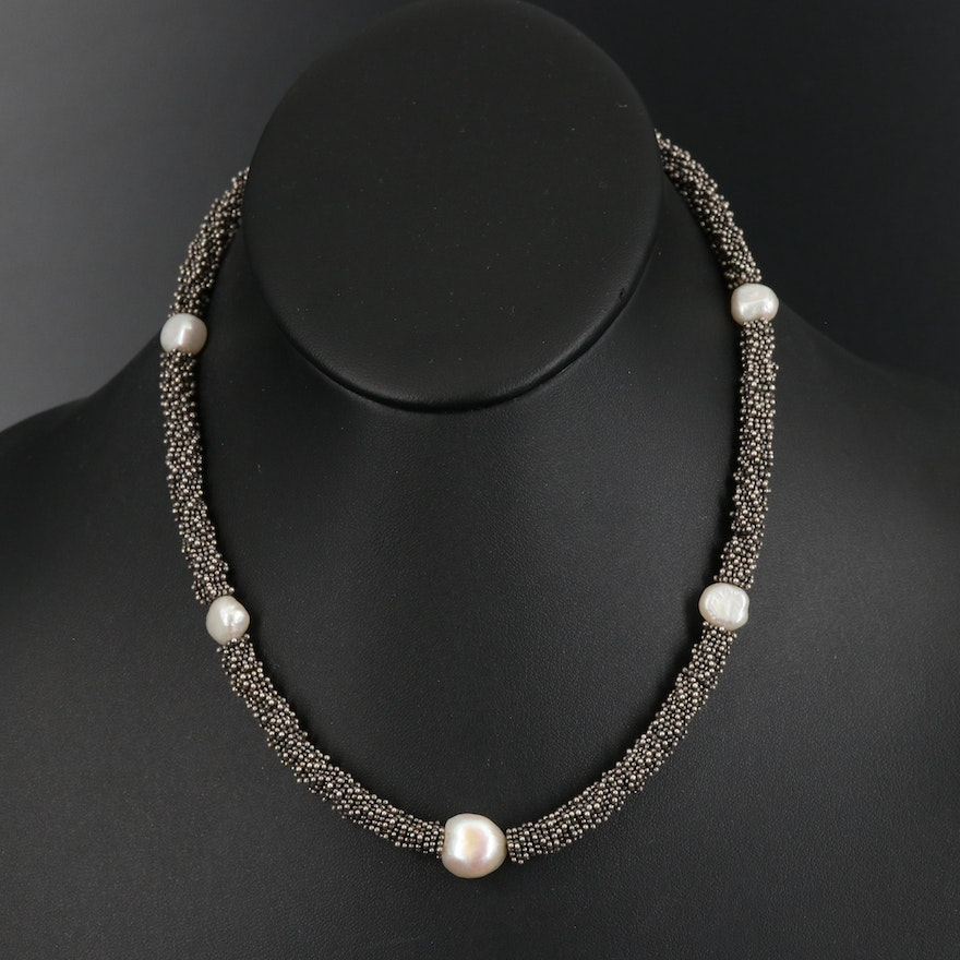 Sterling Baroque Pearl Station Necklace