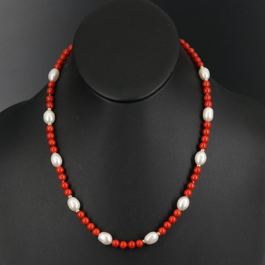 Pearl and Coral Station Necklace with 14K Accent Beads and Clasp