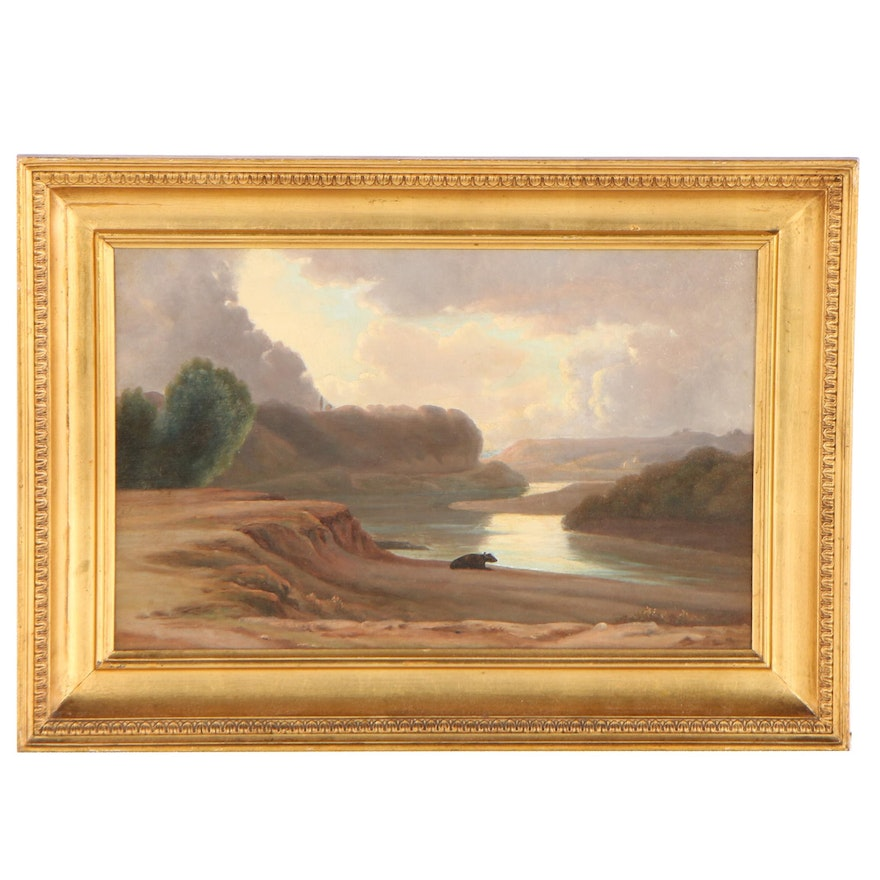 Hudson River School Inspired Landscape Oil Painting, Mid to Late 19th Century