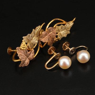 10K Multicolor Grapevine and 14K Pearl Earrings