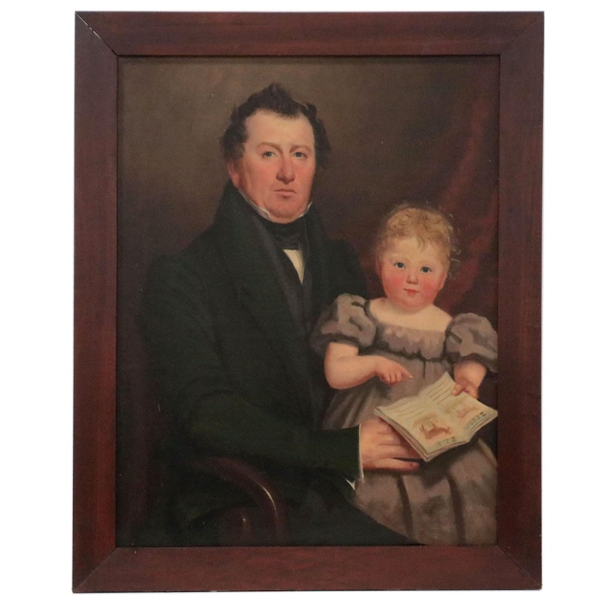Folk Portrait Oil Painting of Father and Child, Mid-Late 19th Century