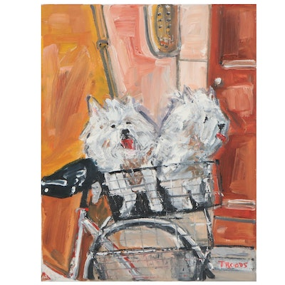 """Patricia Nolan-Brown Oil Painting """"Two Dogs and a Bike"""""""