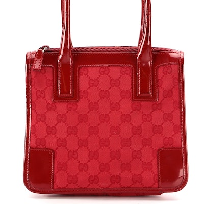 Gucci Red GG Canvas and Patent Leather Handbag