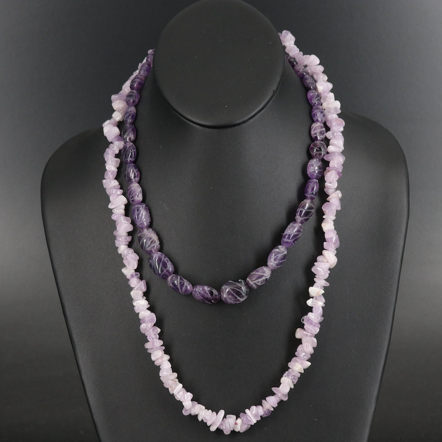 Tumbled and Carved Amethyst Beaded Necklaces
