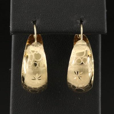14K Engraved Tapered Hoop Earrings