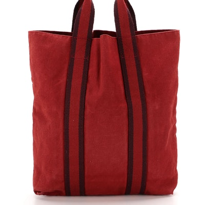 Hermès Fourre Tout Cabas Bag in Red and Burgundy Canvas