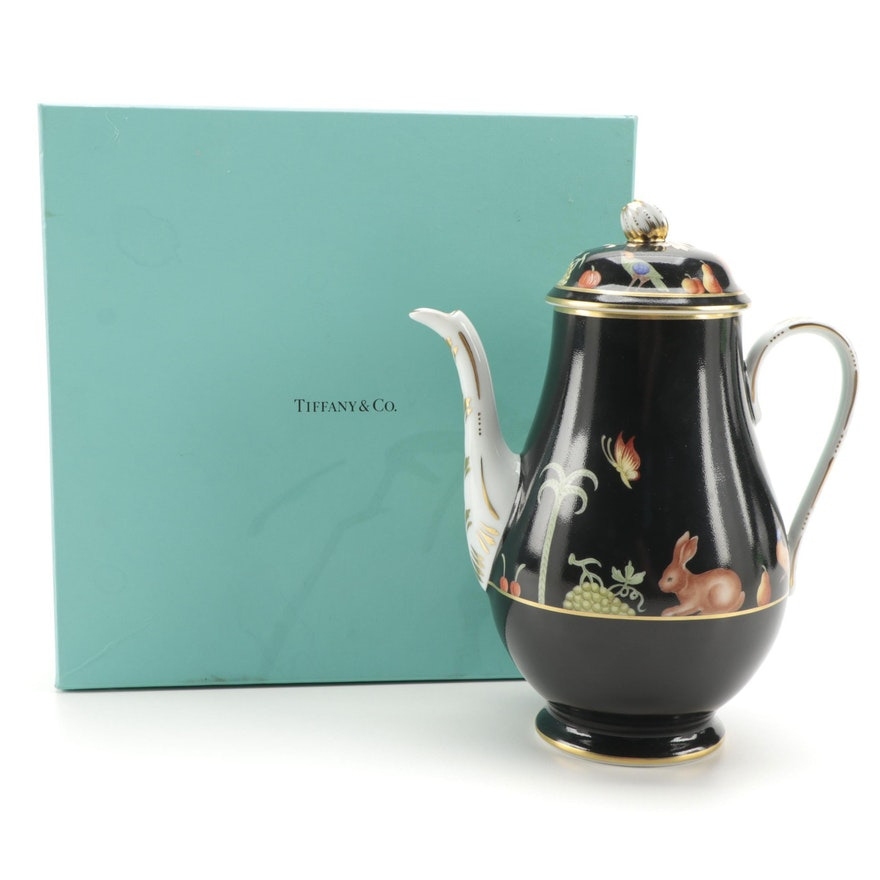 "Tiffany & Co. ""Black Shoulder"" Hand-Painted Porcelain Teapot"