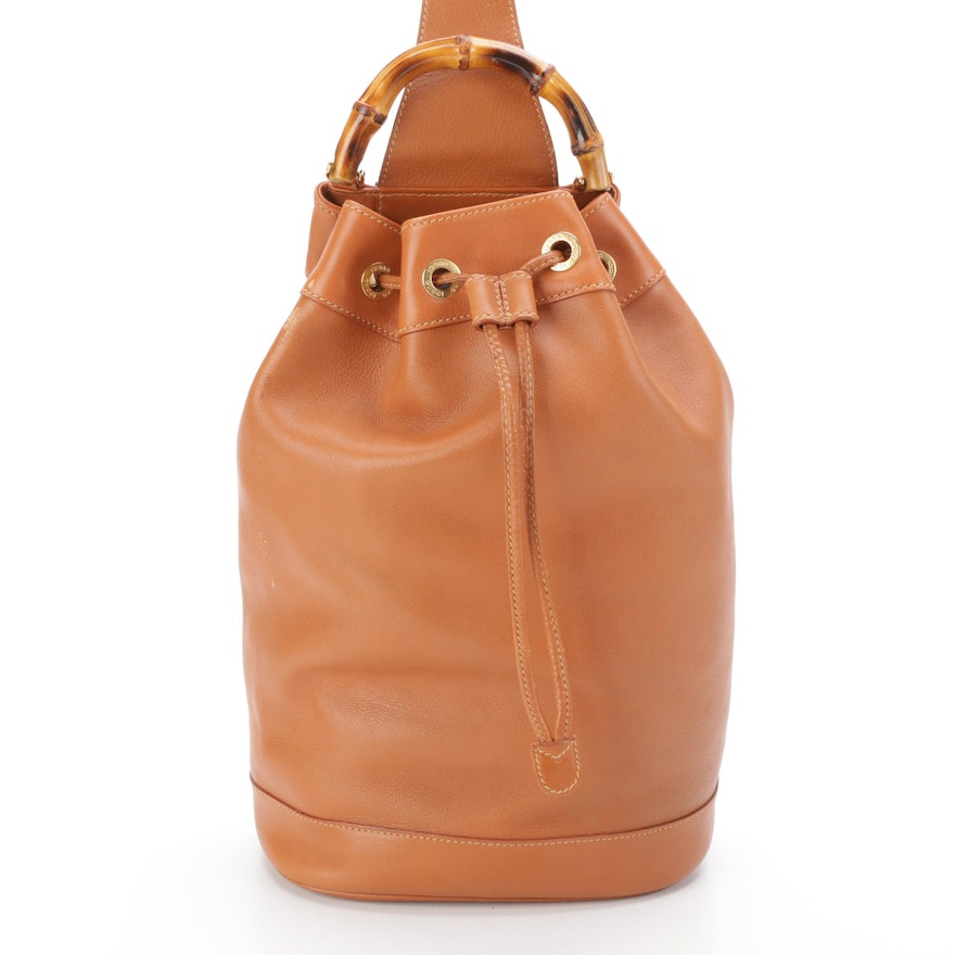 Gucci Bamboo Handle Sling Backpack in Brown Calfskin Leather
