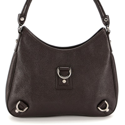 Gucci Abbey D-Ring Dark Brown Grained Leather Shoulder Bag