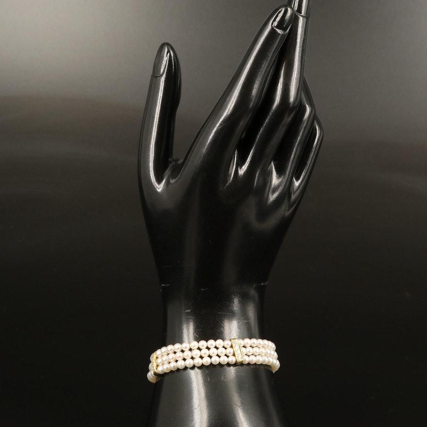 Pearl Triple Strand Bracelet with 18K Diamond Stations