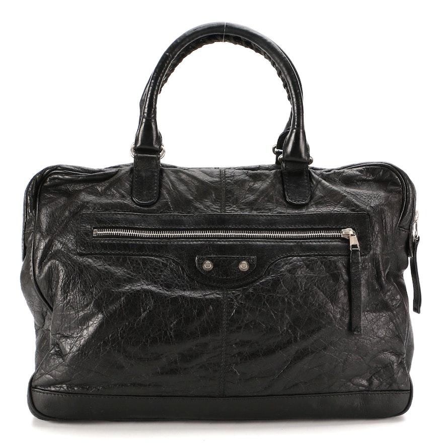 Balenciaga Motocross Mini Folder Bag in Black Lambskin Leather