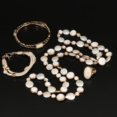 Necklace, Bracelets and Ring Including Pearl, Magnesite and Agate