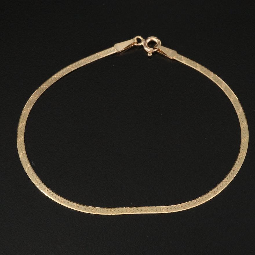 Italian 14K Herringbone Chain Bracelet with Engraved Details