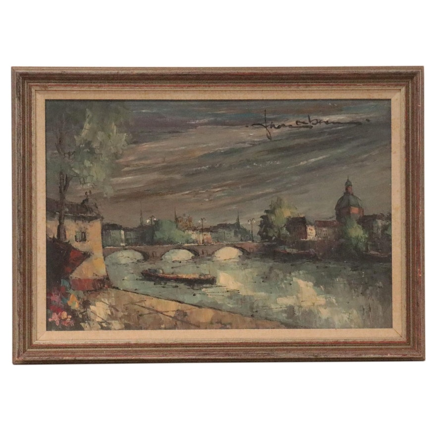 Landscape Oil Painting of Village Scene With Storm Clouds, Late 20th Century