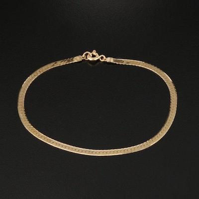 Italian 14K Herringbone Chain Bracelet