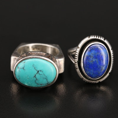 Augustine Largo Navajo Diné Sterling Lapis Lazuli Ring with Turquoise Ring