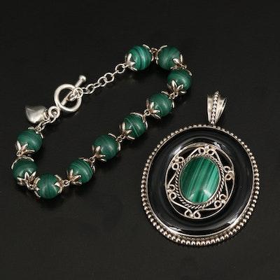 Talia Merav Sterling Black Onyx and Malachite Pendant with Bead Link Bracelet
