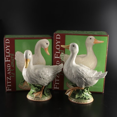"""Fitz and Floyd """"Le Canard"""" Ceramic Duck Statuettes"""