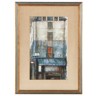 French Storefront Oil Painting, Late 20th Century