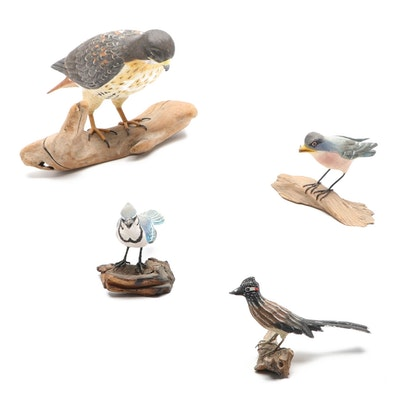 Handcrafted Wood Sculptures of Red-Tailed Hawk, Blue Jay and More