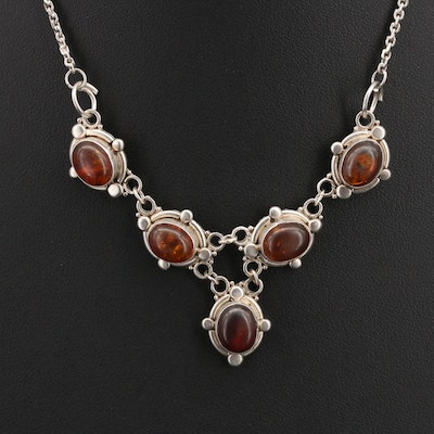Sterling Amber Necklace