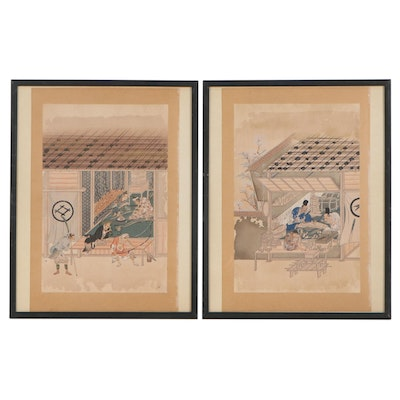 Japanese Woodblocks of Craftsmen and Archers