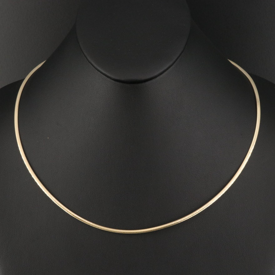 Italian 14K Yellow and White Gold Reversible Omega Chain Necklace