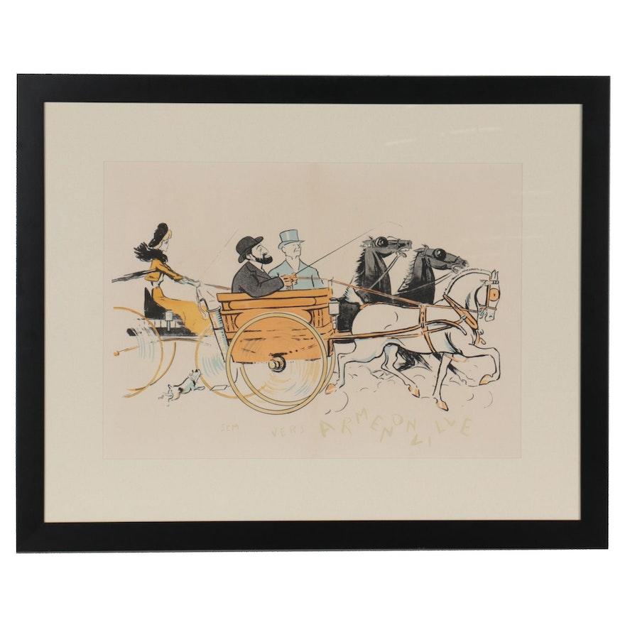 Sem Parisian Caricature Color Lithograph, 1903