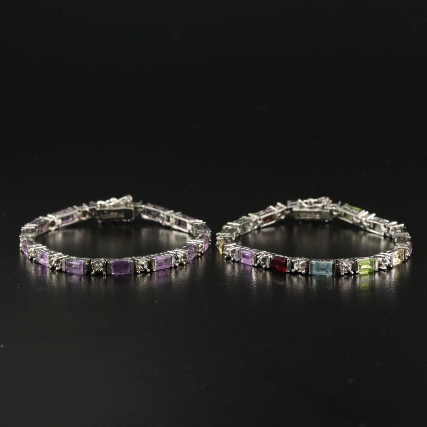 Sterling Silver Multi-Color Line Bracelets Featuring Topaz, Amethyst and Peridot