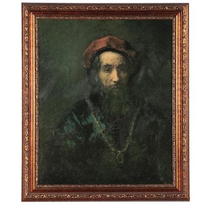 """Embellished Offset Lithograph After Rembrandt """"Portrait of a Rabbi"""""""